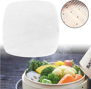 7.5in Perforated Square Steamer Paper Liners for Air Fryer Cooking Steaming