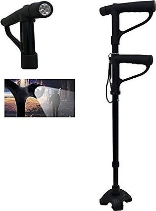 New Safety Old Man Walking Stick With Torch Hiking Walk Cane Non Slip Portative;