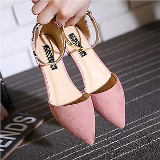 Women's Pointed Toe Ankle Strap Shoes Ballet Flats Spring Casual Sandals PINK