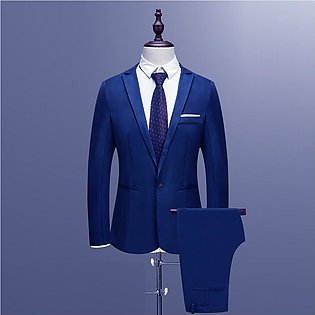 Men's Slim Button Suit Pure Color Dress Blazer Host Show Jacket Coat & Pant #...