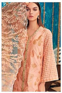 """GA - GA - Gul Ahmed-Summer Collection 2019 Peach Embroidered Chiffon Collection-3 PC Unstitched-PM-252 -195993"""""""