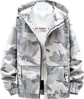 Men Coat Autumn Spring Casual Solid Camouflage Hoodies Outwear