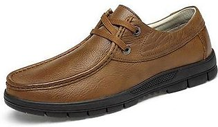 Summer Formal Office Shoes Men Grain Full Leather Casual Shoes (Brown)