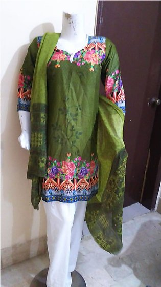 Multi color printed & stitched three piece suit for females stuff lawn by A-J...