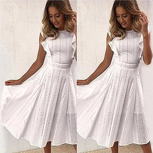 Women Dress Sleeveless O-Neck Lace