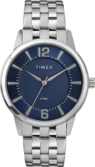 Timex Analog 40mm Blue Dial Stainless Steel Bracelet Watch for Men-TW2T59800