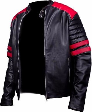 Black & Red Leather Jacket for Men-1140-XS