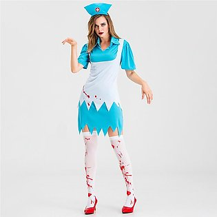 Halloween Women Dress Cosplay Nurse Skirt Nun Maid Dress