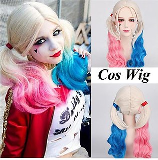 BLY Halloween Batman Suicide Squad Harley Quinn Cosplay Wig Pink Blue Gradient …
