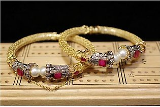 Gold Plated Traditional Bangles ( 1 karrot) Openable (Bridal wear)