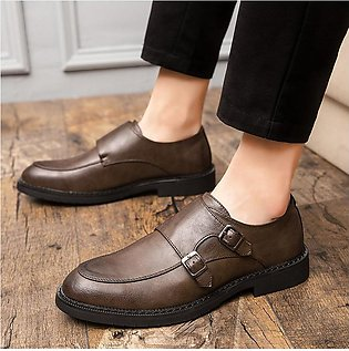 Large Size Men Soft Leather Casual Business Shoes Double Buckle Dress Shoes