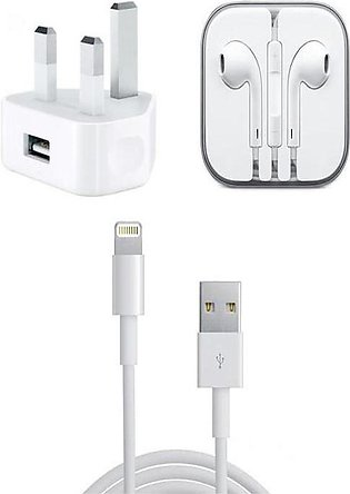 Pack of 3 - Data Cable, Charger & Earphone For Apple - White