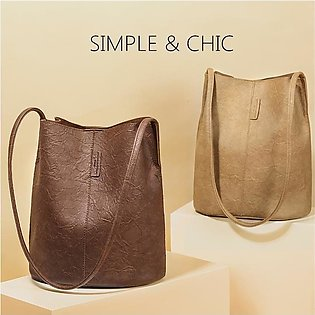 Vintage PU Leather Women's Shoulder Bucket Bag Satchel Lady Handbag Shopping Bag