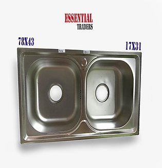 78*43cm stainless steel sink kitchen wash basin double Squire slot wash basin K…