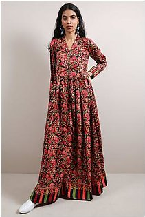 Generation-Pre Fall Collection Paisley Mania Frock Cotton Satin Contemporary-B29225T-Black