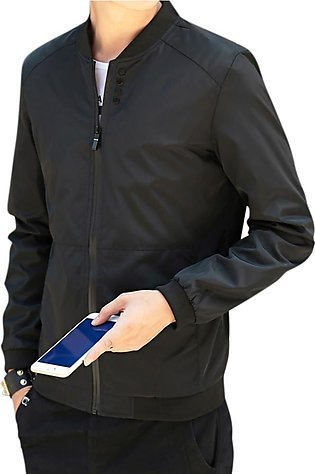Men Simple Casual Baseball Jacket Solid Color Stand-up Collar Coat