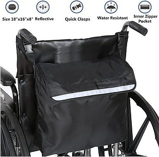 Black Wheelchair Storage Bag Fits Most Scooters, Walkers,Electric Wheelchairs Wheelchair Bag - Shopping Mobility Storage Holdall Handle Scooter Walker Frame