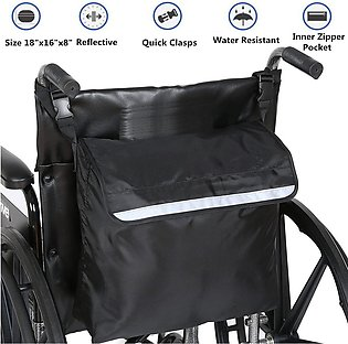 Black Wheelchair Storage Bag Fits Most Scooters, Walkers,Electric Wheelchairs...