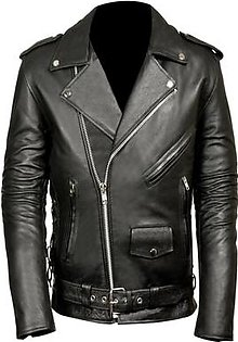 Feather Hide Men's Classic Side Lace Police Style Motorcycle Black Jacket
