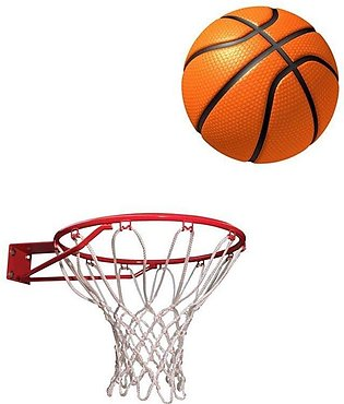 Basket Ball with Net - Standard Size - Multi Color
