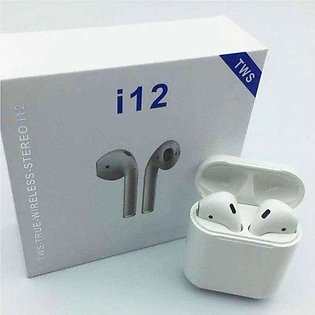 i12 TWS Airpods | Best Quality with High Bass | White