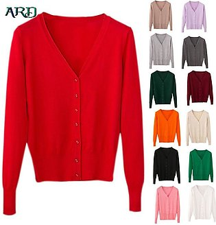 ARD Women Cardigan Casual Sweet Crochet Knitted Tops Long Sleeve Thin Spring ...