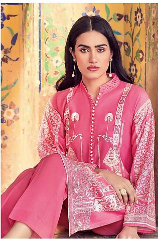 GA - Gul Ahmed-Summer Collection 2019  Pink Embroidered Lawn-2 PC Unstitched-...