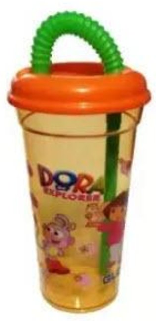 Beautiful Dora Drinking Glass With Lid/Straw For Kids And Babies