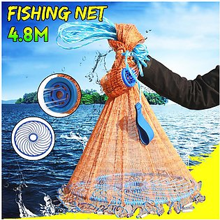 4.8M 16FT Hand Easy Throw Manual Fishing Net Spin Bait Casting Galvanized Sinker