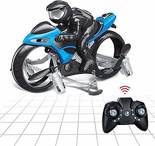 Remote Control Flying Motorcycle RC Drone, 2.4GHz 2in1 Land & Air Headless Mini…