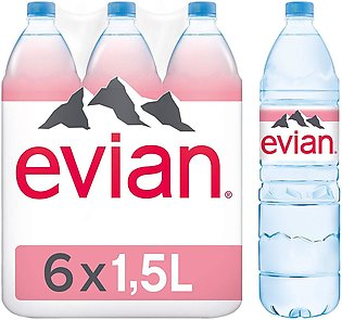PACK OF 6 : EVIAN NATURAL MINERAL WATER 1.5LTR