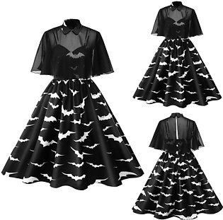 Women Vintage Plus Size Halloween 50s Housewife Evening Party Prom Dress  #R5...