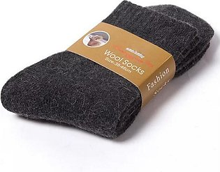 2 Pairs Wool Socks Winter Super Thick Solid Color Warm Warm Black Gray Thermal …