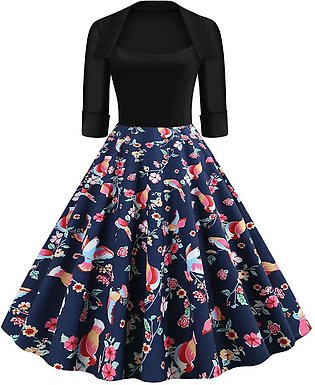 Women Dress Retro Half Sleeve Prom