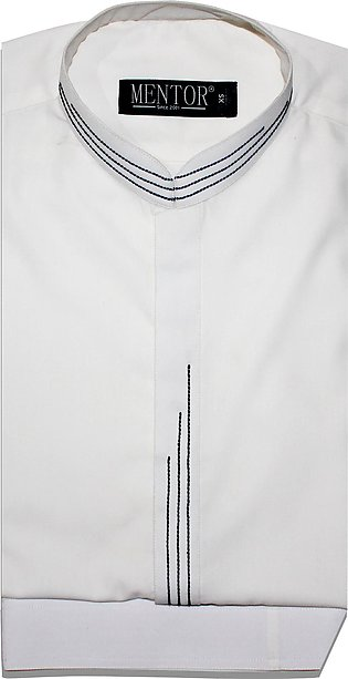White Plain Ban collar Kameez Shalwar for Men