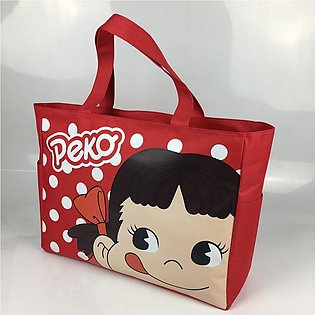 Green Shopping Bag Foldable Cartoon Print Waterproof Canvas Bag Tote Bag