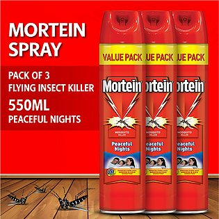 Pack of 3 Mortein Peaceful Nights Spray 550ml
