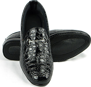 Crocodile Black Shine Patent Pump Loafers Casual Shoes for Men