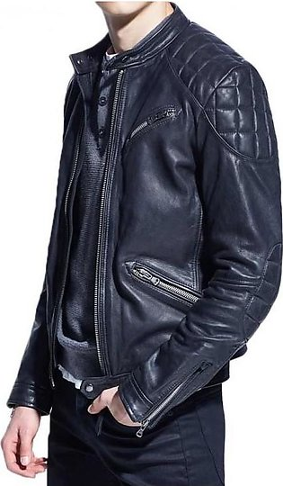 Feather Hide MENS ZIPPER POCKET STYLE MOTORCYCLE BLUE LEATHER JACKET