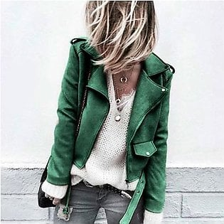 Women's Casual Autumn Faux Suede Slim Zippers Coat Short Cool Motorcycle Jacket