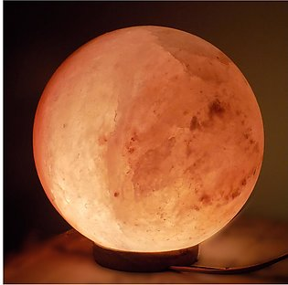 Round Shape Himalayan Natural Pink Rock Salt Lamp With Wooden Base For Table Dé…