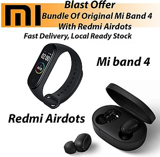 Pack of 2 Mi band 4 Fitness Band with Redmi Airdots Earbuds/ Earphones/ Hands...