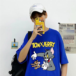 Men Summer Fashion Casual Loose Short Sleeve Cartoon Printing T-shirt Tops