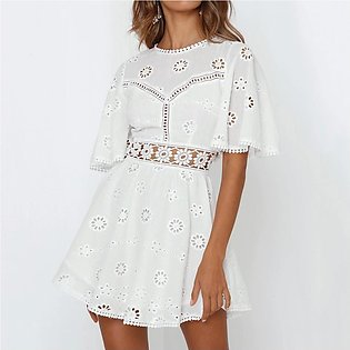 Women Dress Lace Short Sleeve Bodycon Pencil