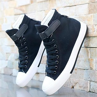 Spring Summer New Style Men Hight-top Canvas Shoes White Breathable Versatile...