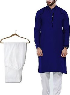 Buy 1 Ready Made Designer Kurta For Men - Design 7 - Navy blue + 1 Pajama