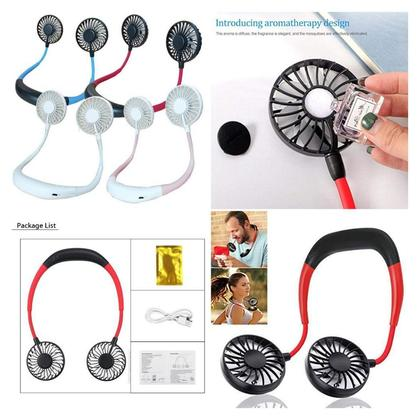Neckband Fan USB Rechargeable Aromatherapy Fans