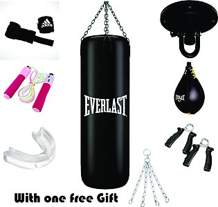 Punching Bag Unfilled Speed ball jumps rope hand grips Hand wraps Deal MMA Kick…