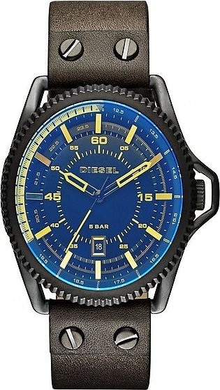 Diesel DZ1718 - Rollcage Exposed Blue Dial Olive Leather Watch for Men