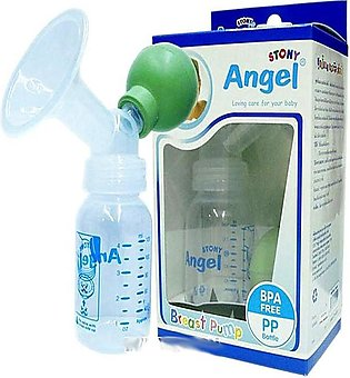Angel Breast Pump With Bottle Blue